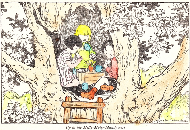 Children in treehouse.