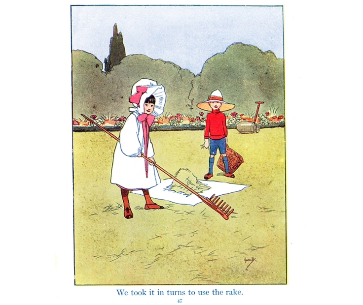 Children raking grass. Illustration by John Hassall.