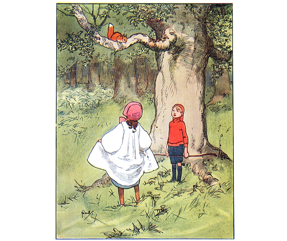 Illustration children and squirrel by John Hassell