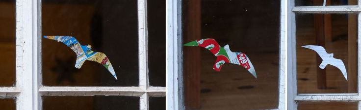 Cutouts to make windows visible to flying birds