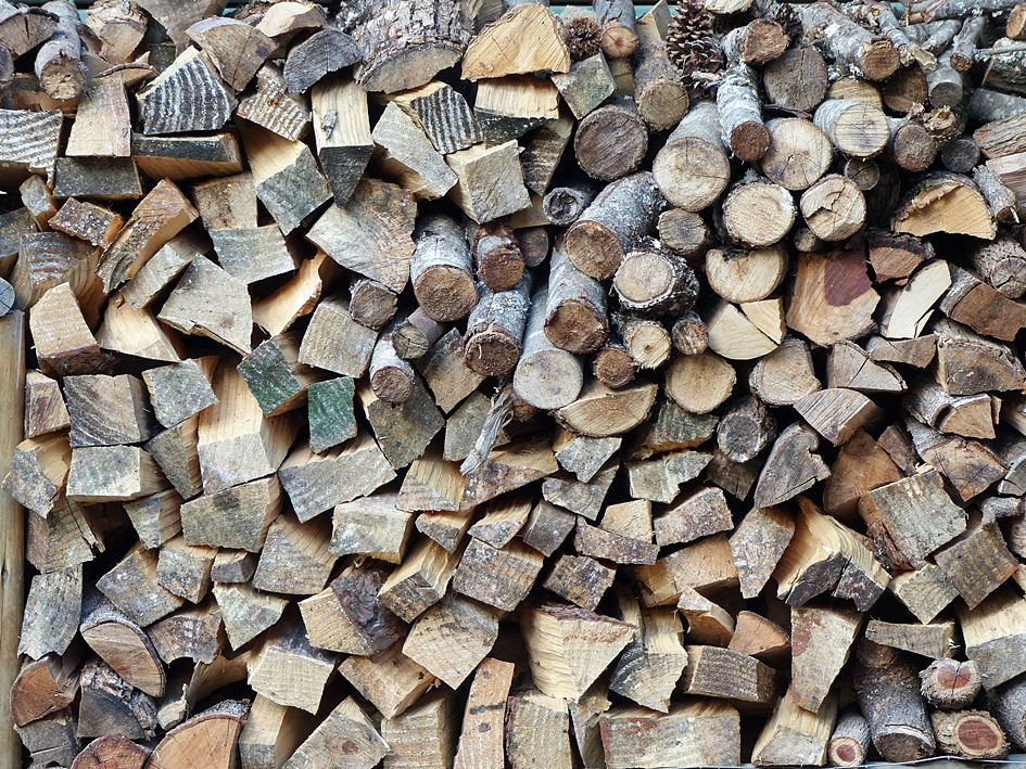 Firewood densely stacked
