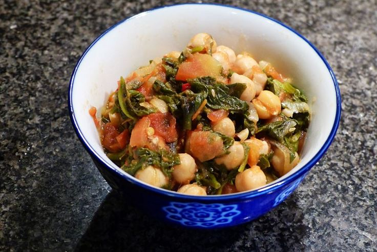 New Zealand spinach in a spicy chickpea stew