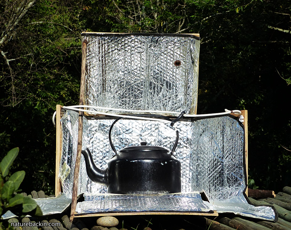 Homemade solar cooker used for heating water