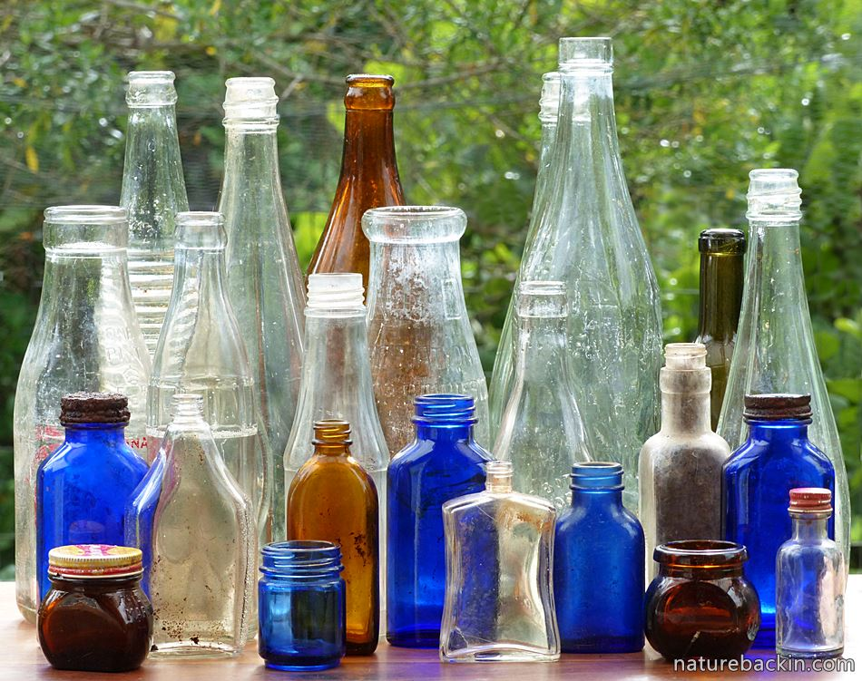 Old bottles dug up from a domestic rubbish dump