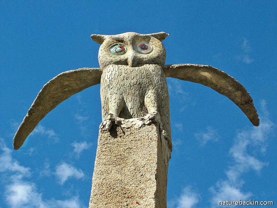 Sculpture of an owl at Helen Martins' Owl House, Nieu Bethesda, South Africa