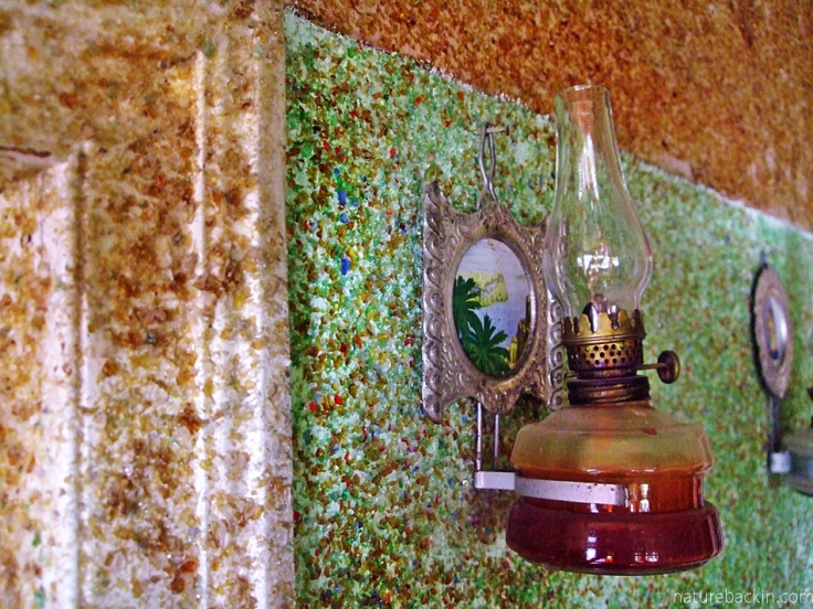 Glass-encrusted walls and lamp, Owl House, Nieu Bethesda