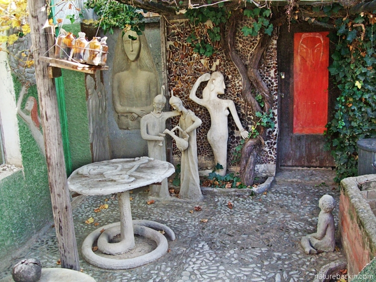 Courtyard with sculptured figures, Helen Martins' Owl House, South Africa