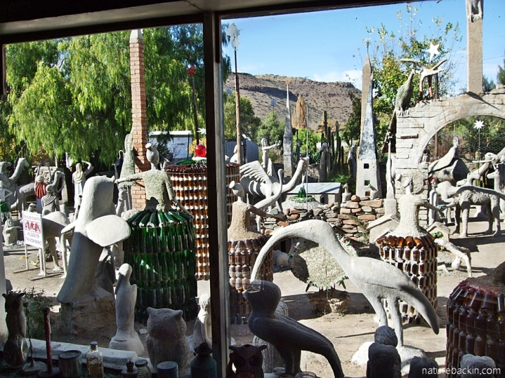 View of the Camel Yard through a window at the Owl House, Nieu Bethesda