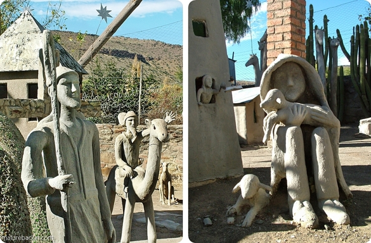 Sculptured figures, Camel Yard, Owl House, South Africa