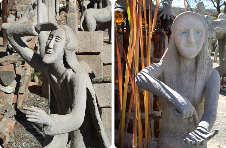 Expressive figures in concrete, Camel Yard, Owl House, Nieu Bethesda