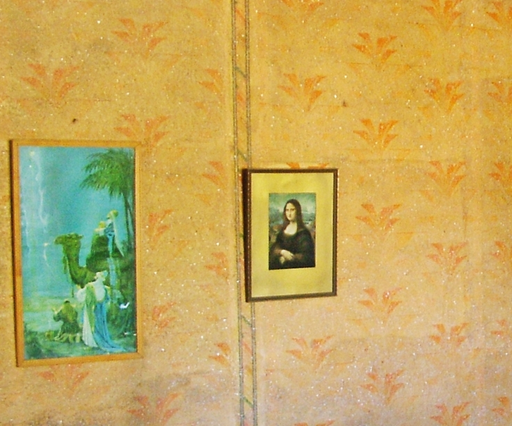 Prints of wise men with camel and the Mona Lisa, Owl House, South Africa