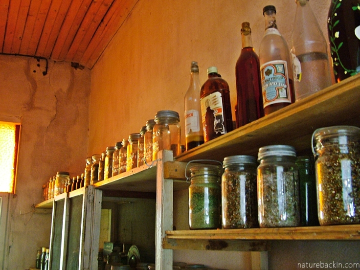 Ground glass in jars in the pantry, at Helen Martins' Owl House, South Africa