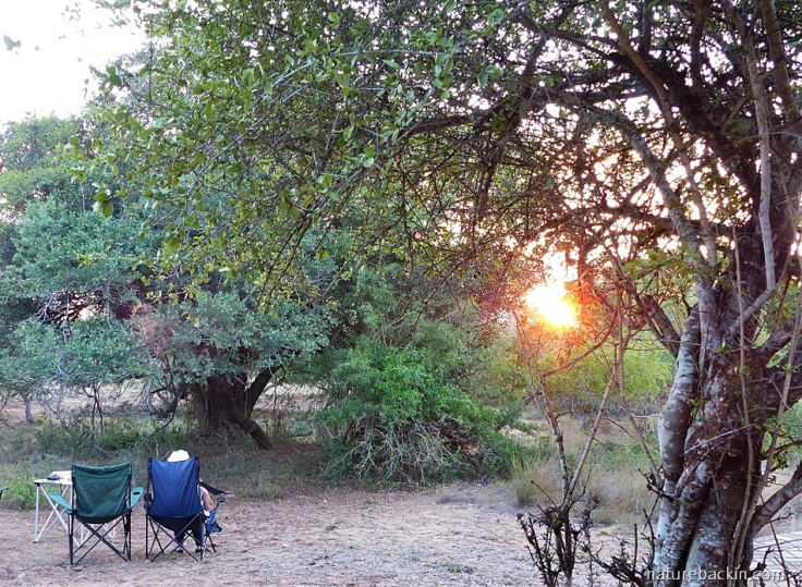 Watching the sunrise outside chalet at Mkhuze Game Reserve, South Africa