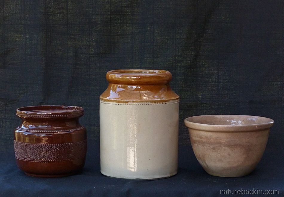 VIntage stoneware jars and a bowl from a collection of family kitchenalia