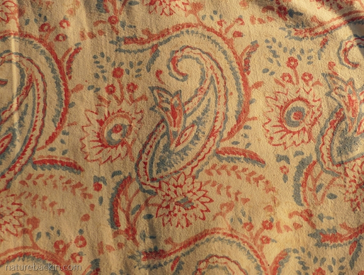 Paisley pattern on block-printed cotton textile