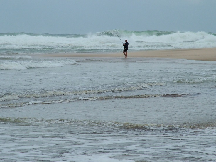 Angling with high waves at Sodwana Bay