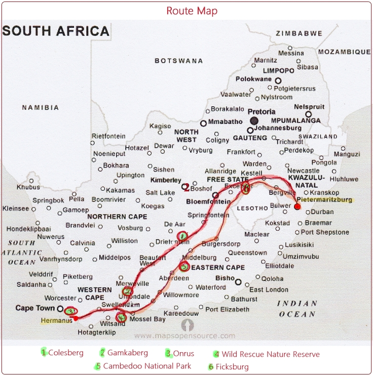 Road trip route from KwaZulu-Natal to Western Cape