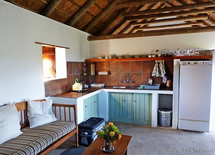 Kitchen area in Cape-style cottage accommodation at Wild Rescue Nature Reserve, Western Cape