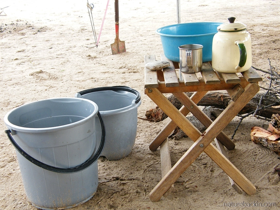 Washing basics at campsite in the Central Kalahari Game Reserve, Botswana