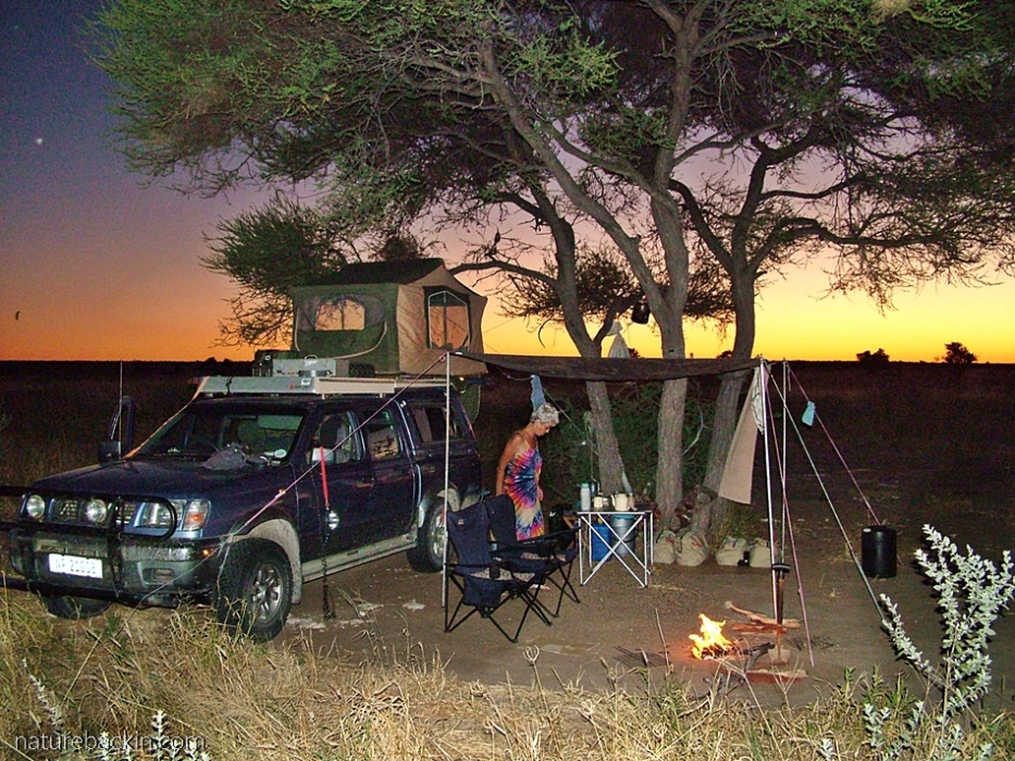 Phokoje campsite at sunset at the Central Kalahari Game Reserve, Botswana