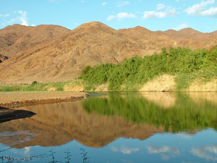 View across the Gariep River, De Hoop campsite, Richtersveld National Park, South Africa