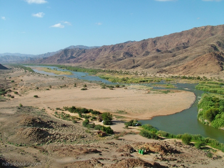 De Hoop campsite on the bank of the Gariep River, Richtersveld National Park