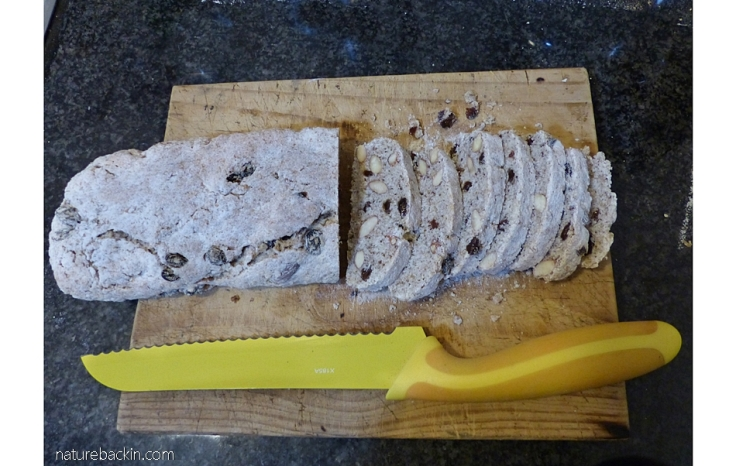 Slicing biscotti prior to the second  bake