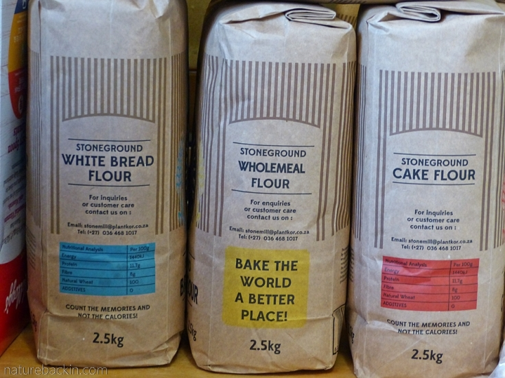 Packets of stoneground wheat flour, South Africa