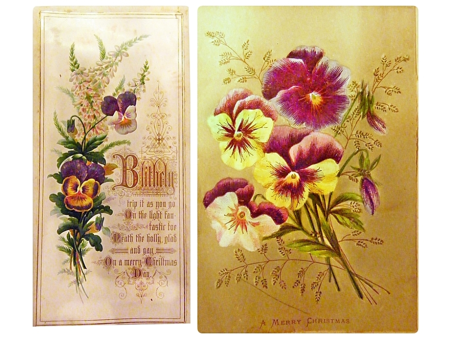 Vintage Christmas cards featuring pansies