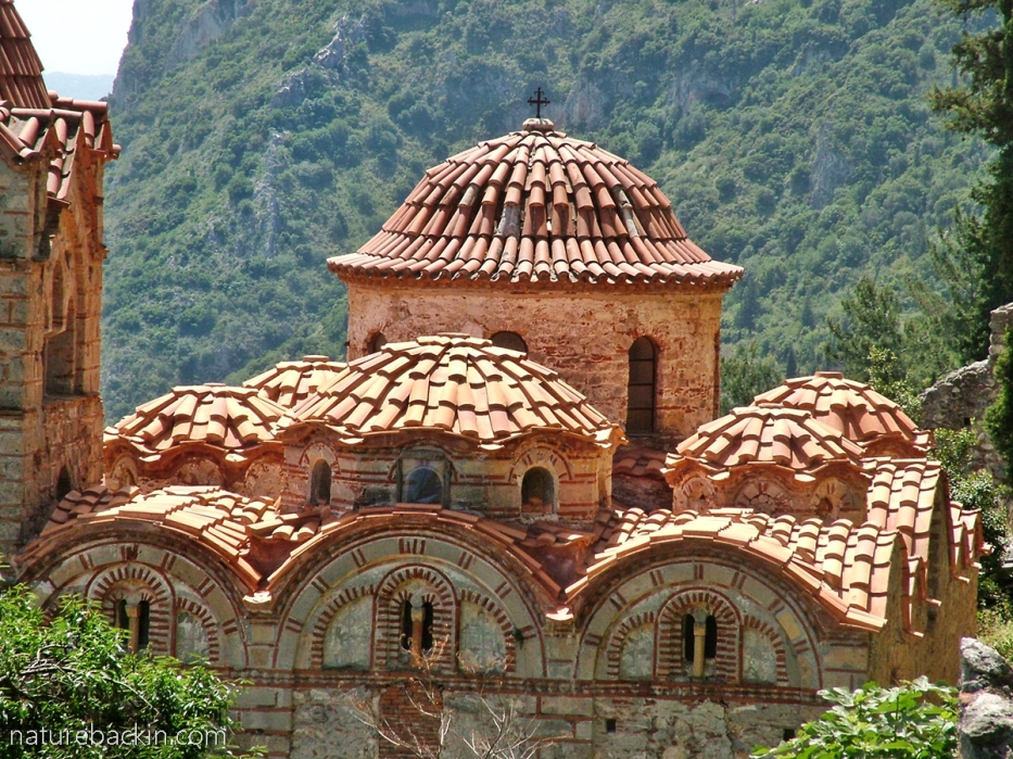 Church domes at Mystras, Greece