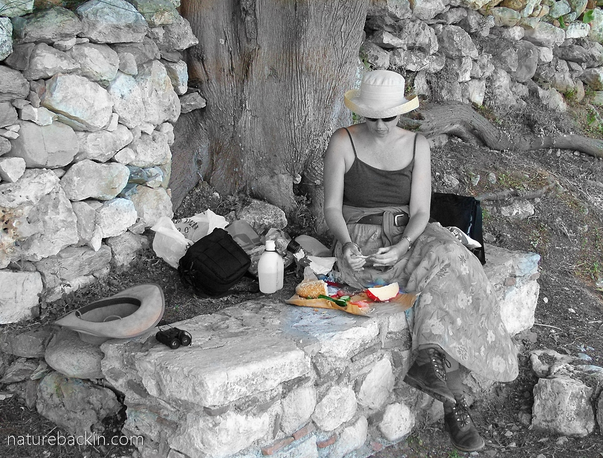 Picnic lunch at Mystras, Greece