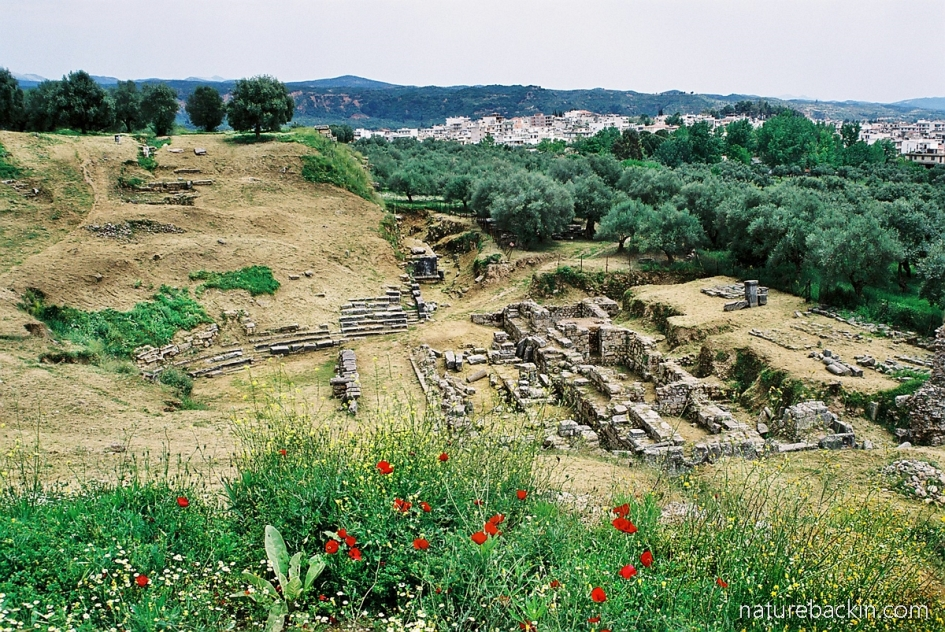 View over the old Acropolis and remains of a Roman theatre in Sparti, Greece